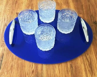 "Oval Serving Tray with Chrome Handles in Blue Gloss Finish 3mm Thick & Rubber Feet. Size 40cm x 30cm, 16"" x 12"""