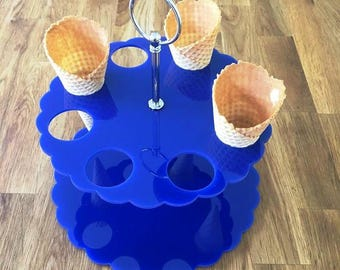 "Round Blue Gloss Acrylic Ice Cream Cone Stands with Silver Metal Round Handle Rod (holes are 3.5cm 1.5""diameter) 4, 8 or 12 Hole Options"