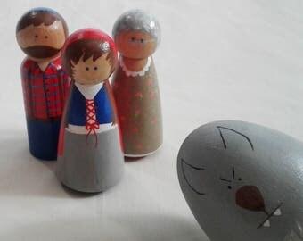 Natural Peg Set Little red riding hood, fairy tale peg people, red riding hood peg doll, peg doll, red riding hood peg people