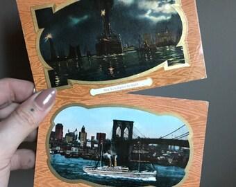 New York Harbor & East River Brooklyn Bridges Post Cards Brooklyn New York