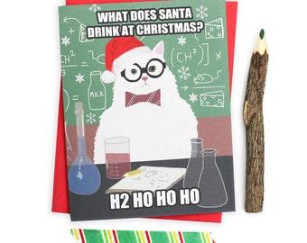 Chemistry Cat Christmas Card - Funny Christmas Card - Funny Holiday Card - Holiday Pun Card - Funny Christmas Cat Card - Cat Holiday Card