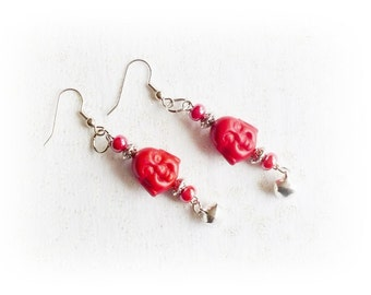 Earrings turquoise red Buddha