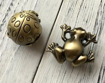 frog ladybug knob dresser drawer knobs pulls handles antique bronze baby animal knob rustic cute childrens