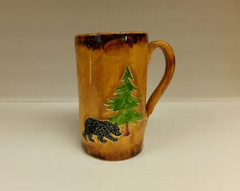 Black Bear Man Size Coffee Mug, Extra Large Handmade Ceramic Mug