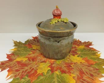 Autumn Brown Canister with Acorn Lid, Handmade Stoneware Pottery