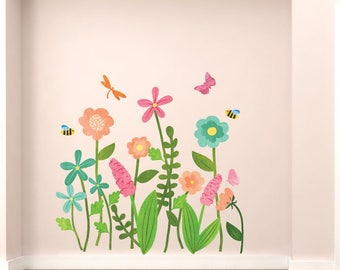 Garden Wall Decals - Flower Fabric Wall Decals in Watercolor