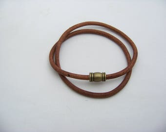 Brown Leather and Bronze magnetic Clasp Necklace  4945