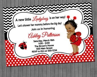 Little Ladybug Baby Shower Invitations