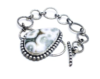Ocean Jasper Bracelet Sterling Silver Hand Forged Statement Piece JMK