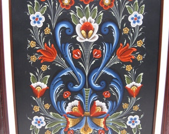"Norwegian Rosemaling 16""x 20"" framed painting"