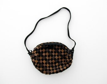 Vintage Purse // Brown and Black Suede Leather Woven Purse