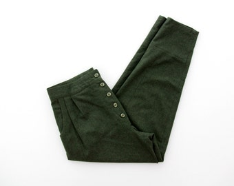 Vintage Pants // Moss Green Wool Tapered High Waist Pants