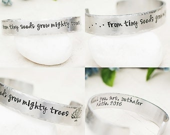 Teacher Appreciation, Teacher Appreciation Gift Idea, Personalized Gift for Teacher From Tiny Seeds Grow Mighty Trees Personalized Cuff