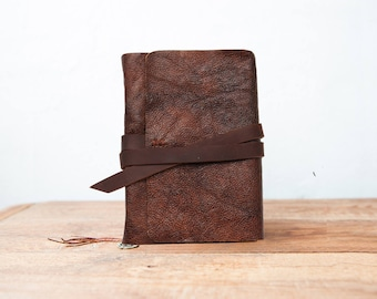 Rustic leather journal, Leather sketckbook with pocket