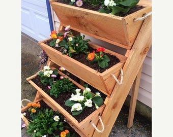 "New 24"" & 16"" old sawmill cut, vertical gardening raised bed planting vegetables wooden planter kit cedar planter herb garden box pots"