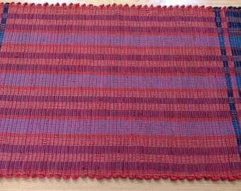"Handwoven Wool Rag Rug  26"" x 47"" in Orange and Navy, Handmade"