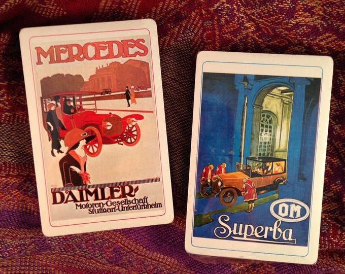 Featured listing image: Mercedes Daimler / OM Superba Vintage Automobiles Double Deck Playing Cards (Art Nouveau)