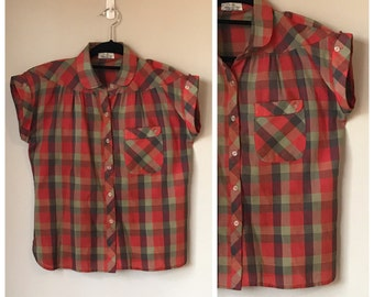 Vintage Plaid 80's does 50's  Blouse