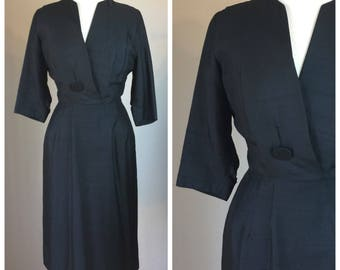 Vintage 60's Raw Silk Black Shift Dress Carl Naftel 6