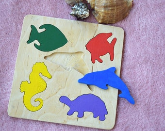 Wooden puzzle Baby Montessori Toy Educational Toys Ocean Sea wooden puzzles Toddler wood Baby Shower Gift Organic Eco Friendly kids toy