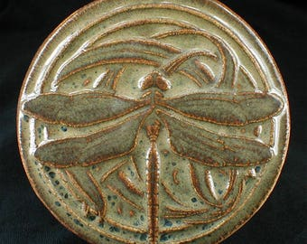 Dragonfly tile with glossy variegated brown glossy glaze