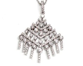 Custom Diamond Pendant Dangling 18k White Gold Great Gatsby style