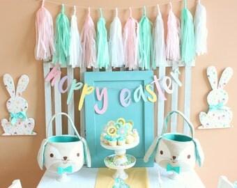 White Blush Pink Mint Tassel Garland  Rustic Chic Wedding Decor, Bridal Baby Shower Decorations, Mint Gold tissue Garland Peach tissue fring