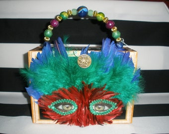 Mardi Gras, Fleur de Lis Cigar Box Purse, Tampa, Authentic, Feathered Mask- Must See!