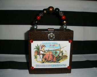 Tampa Girl Vintage Label Cigar Box Purse, Authentic