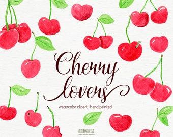 watercolor fruit clipart, cherry clipart, watercolor clip art,  watercolour clipart, watercolor clip art, clipart, fruits, digital clipart