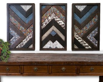 Reclaimed Wood Art 1890s 1940s Pine Wall Sculpture Rustic Triptych Geometric Modern Contemporary Decorative Textured Abstract Set of 3 OOAK