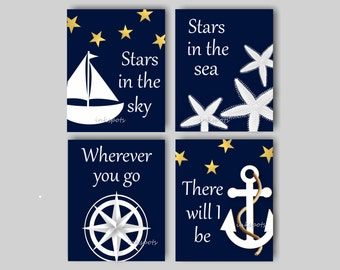 Baby Boy Nursery Art Nautical Nursery Print for Boys Room Nautical Decor Sailboat Print Anchor Print Sailboat Print - Choose Colors - NN1404