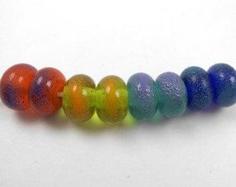 Handmade Lampwork accent beads, Handmade lampwork artisan beads, earring bead pairs, lampwork bead pairs, rainbow beads