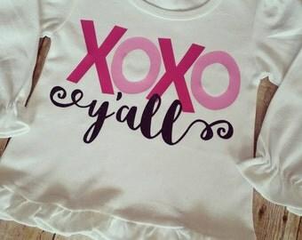 XOXO y'all - girls Valentine's Shirt