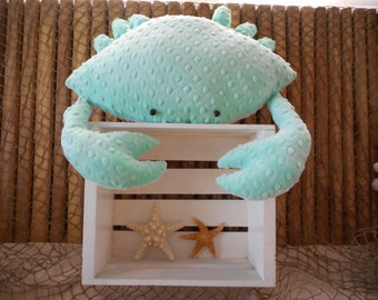 Crab pillow, opal, mint green crab pillow, nautical decor, 3D crab pillow, coastal living, home decor, beach pillows, childs toy crab
