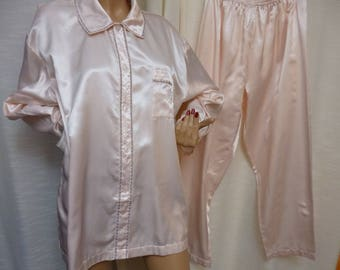 Nightshirt, Two Piece Pajamas, CHRISTIAN DIOR, Neiman Marcus, Baby Pink with Embroidery, Vintage Large, MINT
