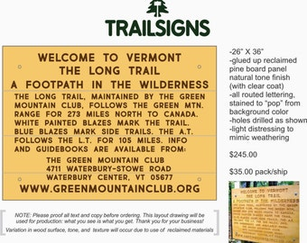 VT Long Trail Welcome Sign (VT/MA border)