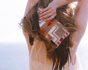 Navajo Clutch, Wool Fringe Clutch, Bohemian fringe bag,  Western Clutch, Small Clutch, Tan, Tribal Clutch, Wool Purse in Pendleton Wool