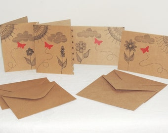 Whimsical Zen Doodle Butterfly Blank Note Cards ~ Set of 4 with envelopes ~ Brown Card Stock ~ Original Artwork