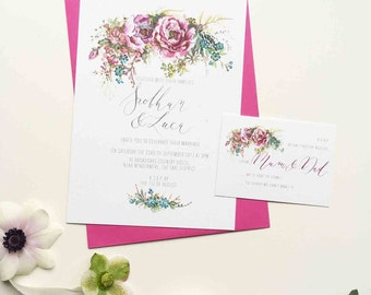 Classic Peony personalised wedding invitation - bold floral illustration and lettering