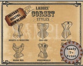 """Ladies Corset Styles Printable 11X14"""" Sign Victorian Steampunk Sweetheart Can-can High Dive Mama Mia Underworld Fraulein Sexy Lingerie Names"""