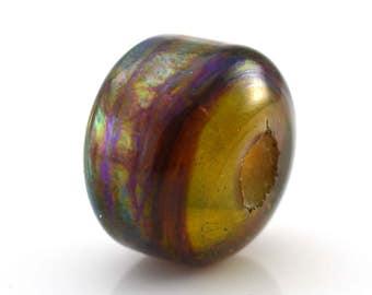Silver Web Threads Handmade Glass Large Hole Lampwork Bead