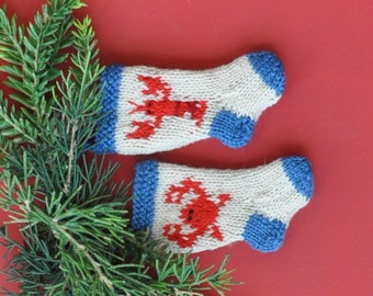 Crab and Lobster Hand-knit Christmas Stocking Ornaments