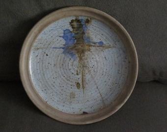 Large Vintage 1968 Studio Ceramic Charger Artist Signed Levine ,