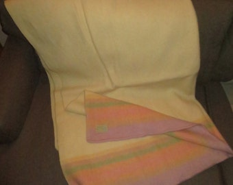 Vintage 60's Canadian Made Genuine Wool Blanket , Pastel Striped , 62 by 86 inches