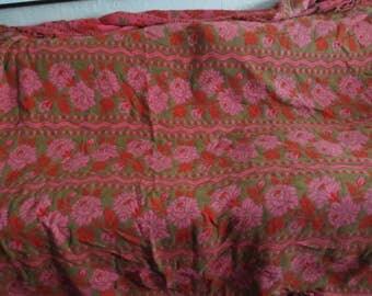 Vintage 1950's Bed Cover,Throw,Blanket, Reversible Coverlet , Retro Decor , Elaborate Design