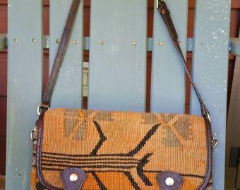 Vintage leather and wool tapestry shoulder bag/messenger bag