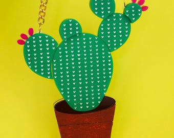 Prickly Pear Cactus Necklaces Acrylic Laser Cut Statement Necklace Gift for Her Laser Engraved Perspex Acrylic