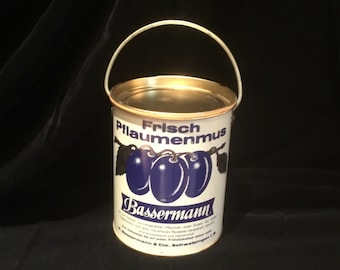 Vintage German Plum Jam tin can with lid and handle