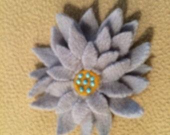Light blue felted wool flower barrette